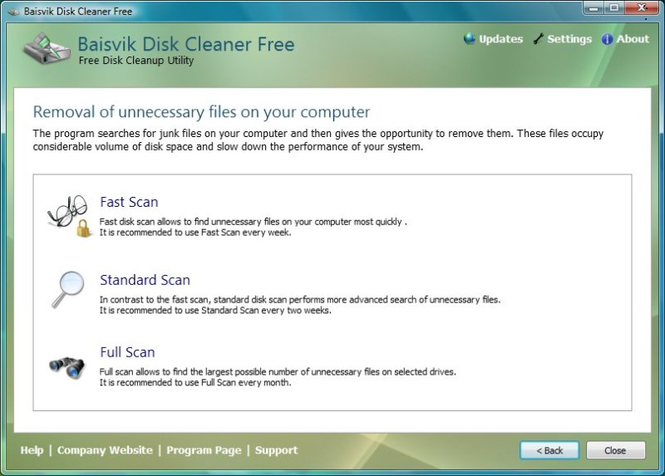 Baisvik Disk Cleaner Free Screenshot