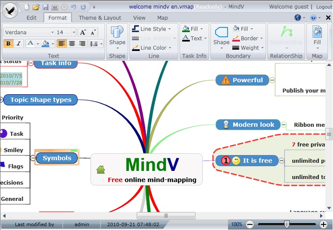 Mindv online mind mapping tool Screenshot