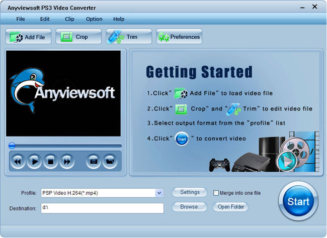Anyviewsoft PS3 Video Converter Screenshot 1