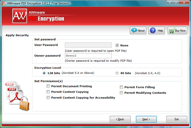Encrypt Pdf to Block Edit Print Copy Screenshot 1
