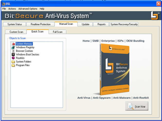 BitSecure AntiVirus System Screenshot