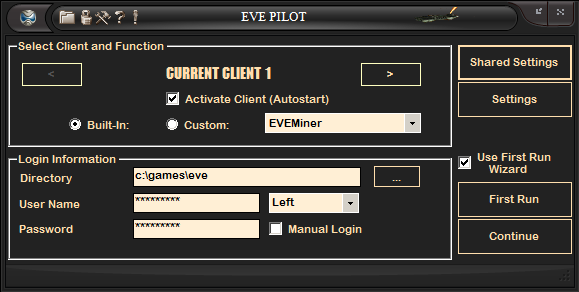 EVE Online Mining Bot - EVE Pilot Screenshot