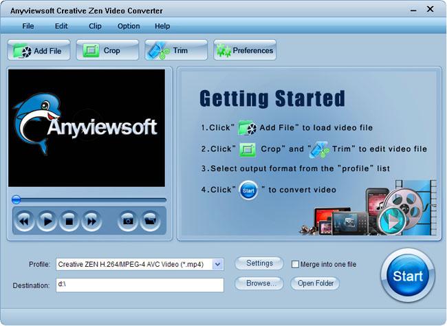 Anyviewsoft Creative Zen Video Converter Screenshot 1