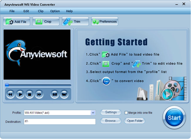 Anyviewsoft Wii Video Converter Screenshot 1