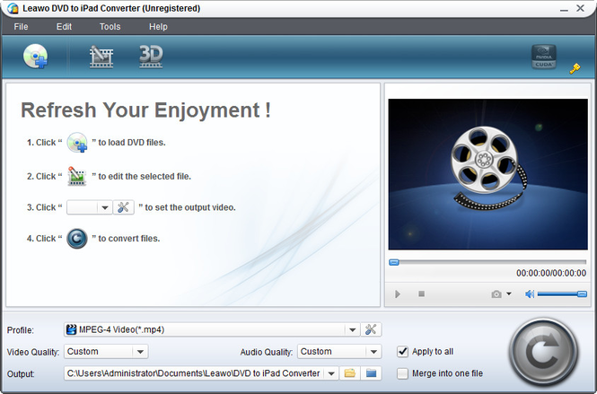 Leawo DVD to iPad Converter Screenshot