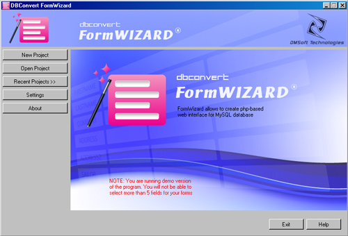 DBConvert FormWizard for MySQL Screenshot