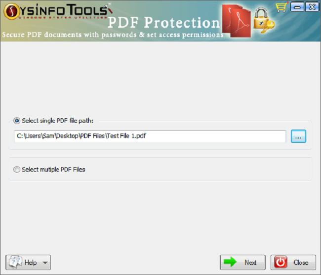 SysInfoTools PDF Protection Screenshot
