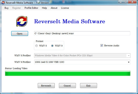 ReverseIt Media Software Screenshot
