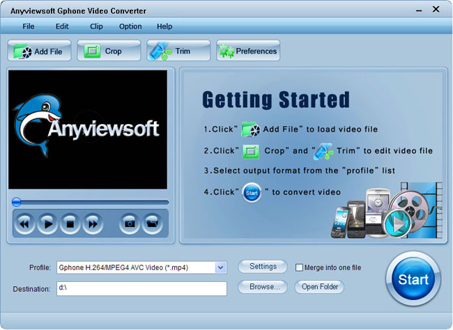 Anyviewsoft Gphone Video Converter Screenshot 1