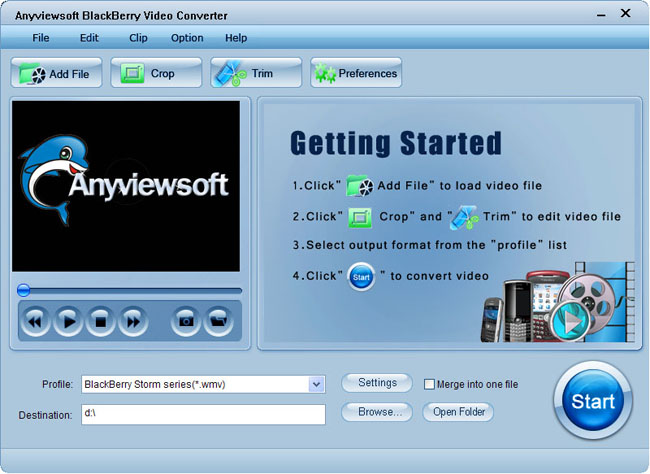 Anyviewsoft BlackBerry Video Converter Screenshot