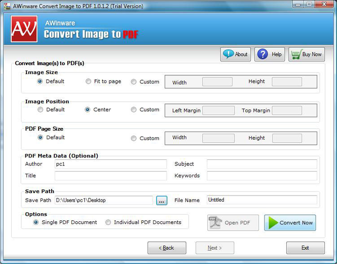 Multi-frame TIFF Image to PDF Converter Screenshot 1
