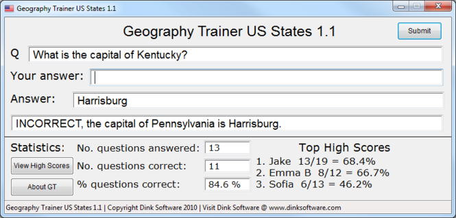Geography Trainer US States Screenshot 1
