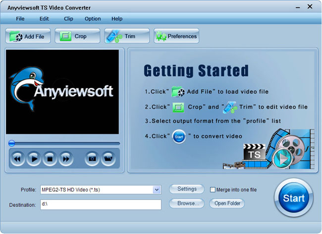 Anyviewsoft TS Video Converter Screenshot 1