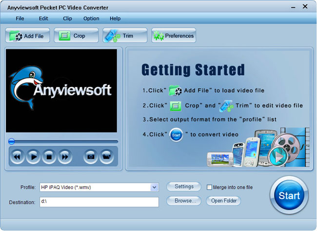 Anyviewsoft Pocket PC Video Converter Screenshot 1