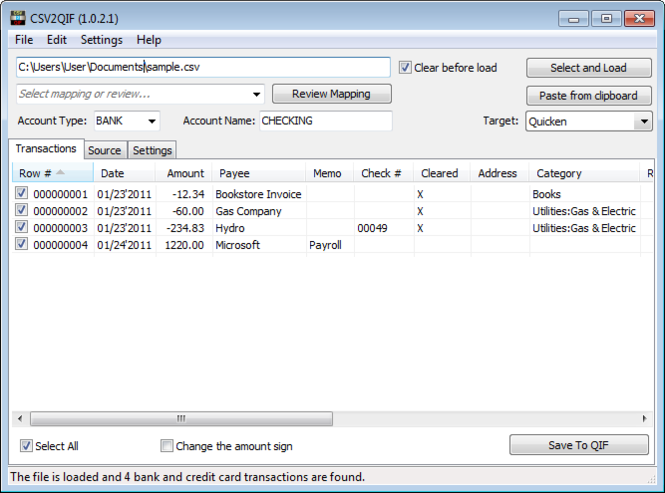 CSV2QIF Screenshot 1