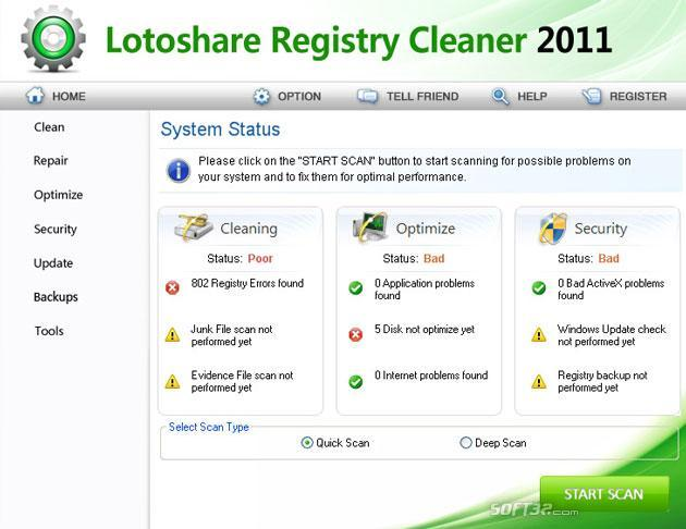 Lotoshare Registry Cleaner Screenshot 3