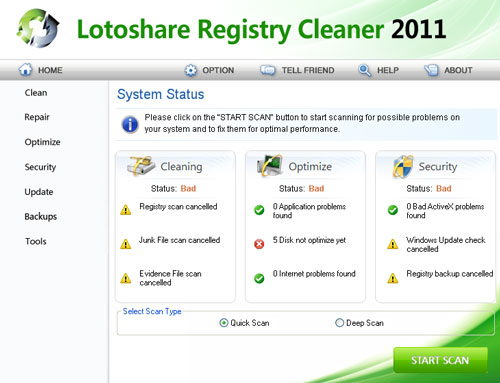 Lotoshare Registry Cleaner Screenshot 1