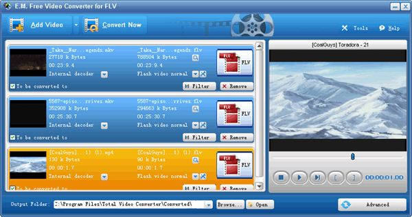 E.M. Free Video Converter for FLV Screenshot