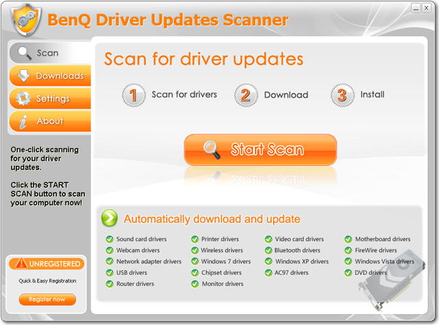BenQ Driver Updates Scanner Screenshot