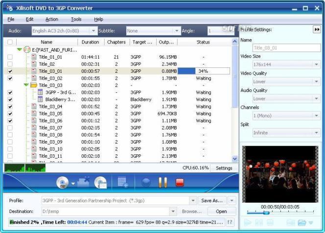 Xilisoft DVD to 3GP Suite Screenshot 3