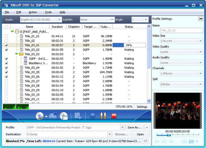 Xilisoft DVD to 3GP Suite Screenshot