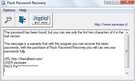 Flock Password Recovery Screenshot