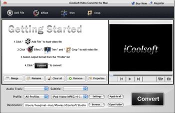 iCoolsoft Video Converter for Mac Screenshot