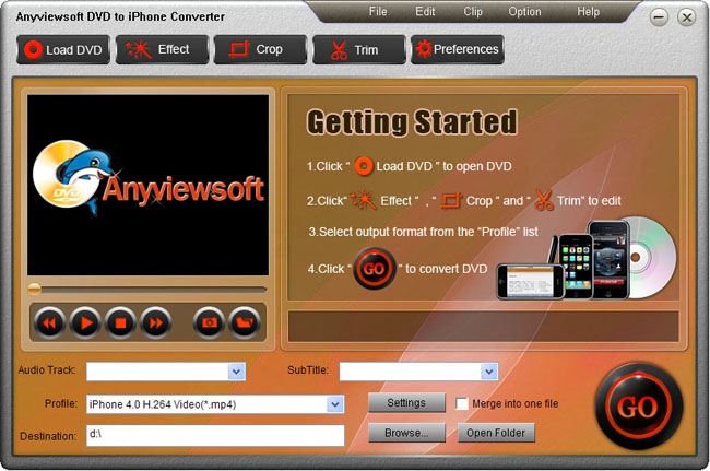 Anyviewsoft DVD to iPhone Converter Screenshot 1