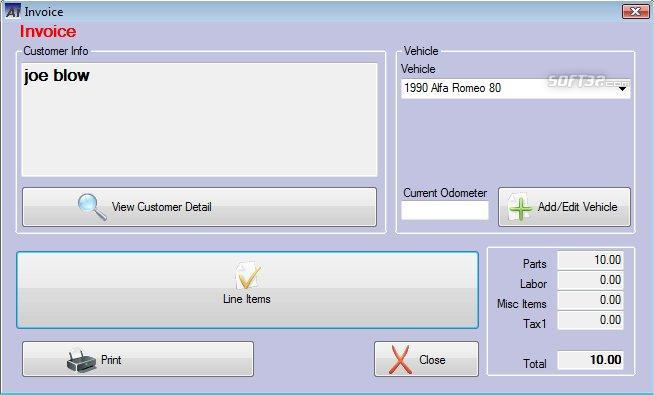 Auto Shop Invoicer Screenshot 2