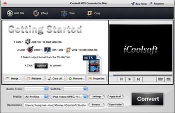 iCoolsoft MTS Converter for Mac Screenshot