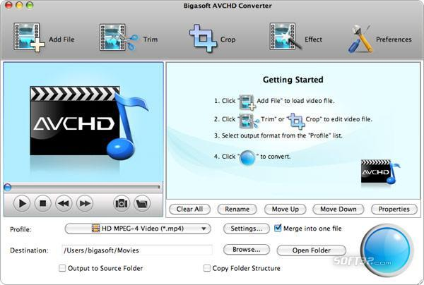 Bigasoft AVCHD Converter for Mac Screenshot 3