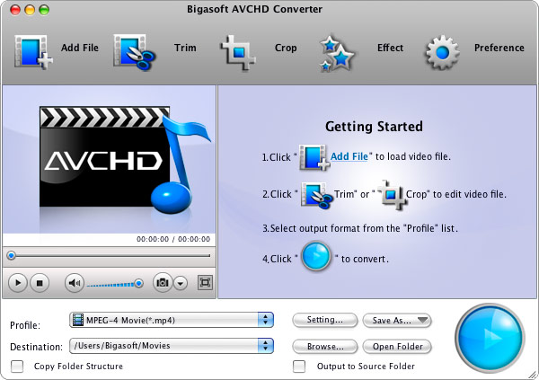 Bigasoft AVCHD Converter for Mac Screenshot 1
