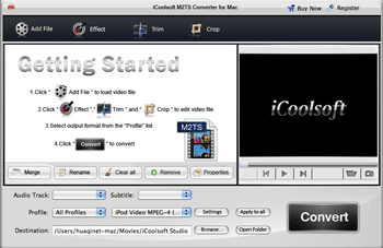 iCoolsoft M2TS Converter for Mac Screenshot