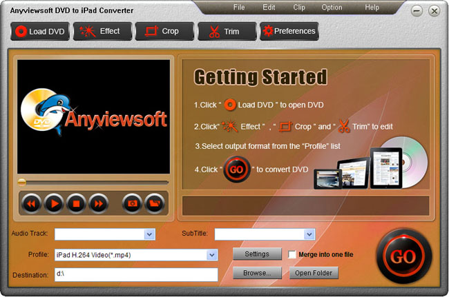 Anyviewsoft DVD to iPad Converter Screenshot