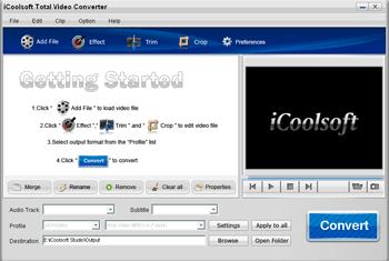 iCoolsoft Total Video Converter Screenshot 1