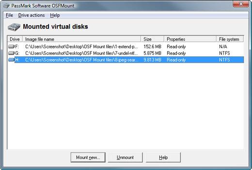 OSFMount Screenshot 1