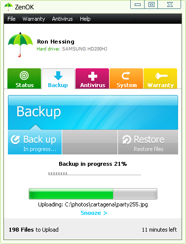 ZenOK Online Backup Screenshot
