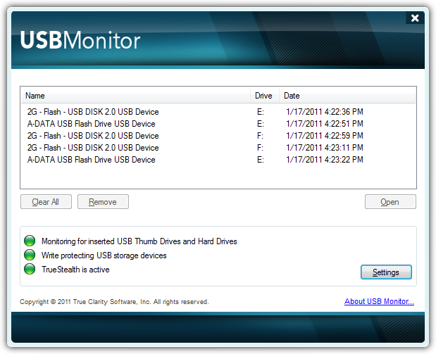 USB Monitor Screenshot