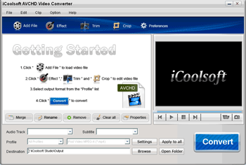 iCoolsoft AVCHD Video Converter Screenshot 1