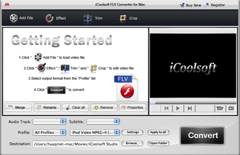 iCoolsoft FLV Converter for Mac Screenshot
