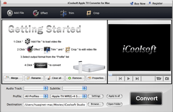 iCoolsoft Apple TV Converter for Mac Screenshot
