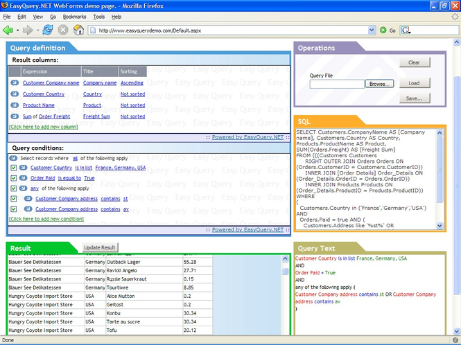 EasyQuery.NET WebForms Screenshot
