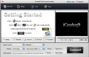 iCoolsoft TOD Converter for Mac Screenshot
