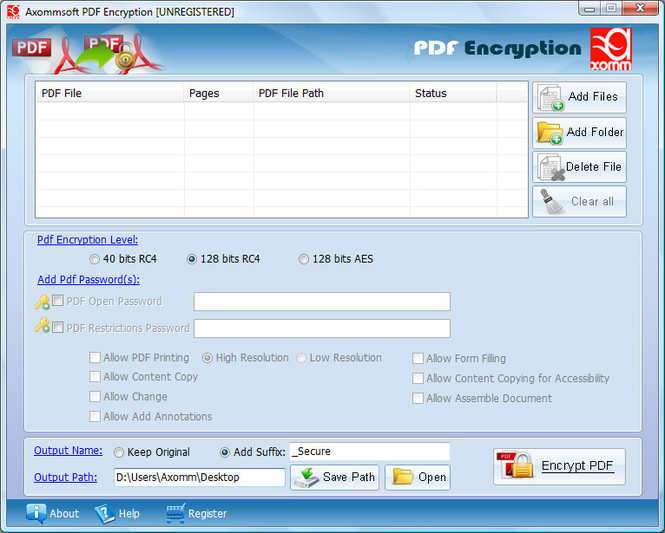 Axommsoft Pdf AES Encryption Security Screenshot
