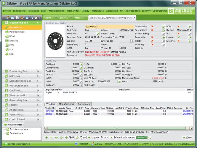 2BizBox ERP Screenshot