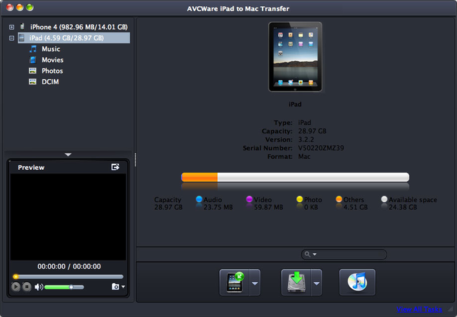 AVCWare iPad to Mac Transfer Screenshot
