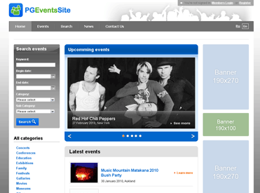 PG Events software Screenshot