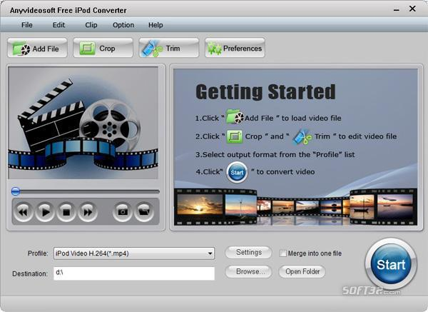 Anyvideosoft Free iPod Video Converter Screenshot 2