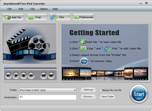 Anyvideosoft Free iPod Video Converter Screenshot