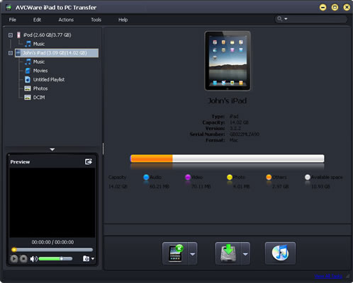AVCWare iPad to PC Transfer Screenshot